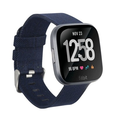 Insten Canvas Woven Fabric Band for Fitbit Versa 2 / 1 / Lite / SE, Replacement Strap, Navy Blue