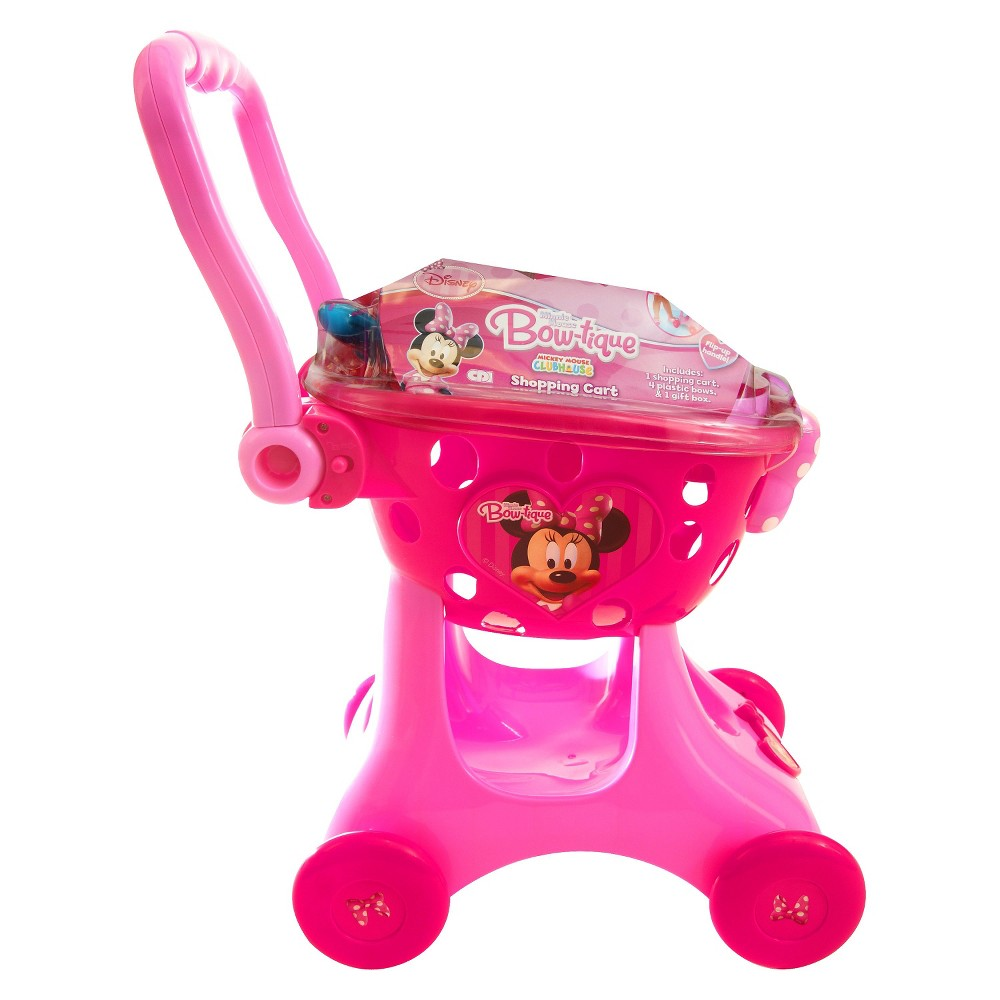 Disney Minnie's Shopping Cart Kids love to help and the Disney Minnie's shopping cart lets your kids help shop for groceries. This cute Minnie Mouse shopping cart is available in pink and red. It has a handle that can be adjusted as your child grows. 4 wheels make it maneuver just like the real thing. Ages 2 and up. Gender: Unisex.