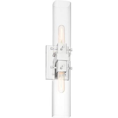 "Possini Euro Design Modern Industrial Wall Light Sconce Chrome Hardwired 15 1/2"" High 2-Light Fixture Clear Glass Bathroom Hallway"