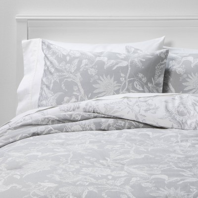 Full/Queen Floral Printed Family Friendly Comforter & Sham Set Gray Bird - Threshold™