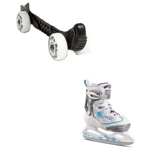 Rollergard Slip-On ROC-N-Roller Figure Skate Rolling Guard, Black (2 Pack) & Rollerblade Bladerunner Micro Ice G Girls Skates, Small, White/Blue - image 1 of 4
