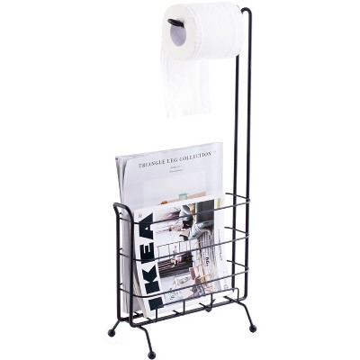 Basicwise Metal Toilet Paper Holder with Magazine Rack