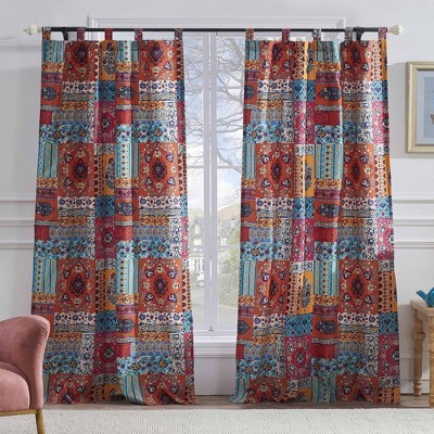 """Barefoot Bungalow Indie Richly Decorated 4-Piece Window Panel With Tie Back - 42X84"""" Spice"""