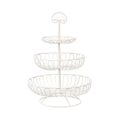 """Juvale 3 Tier Metal Fruit Basket, White Tiered Fruit Bowl Storage Stand Holder for Kitchen Counter, White, 18.25"""" Tall"""