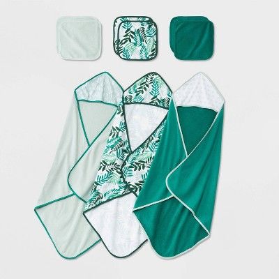 Baby Girls' 9pk Hooded Towel and Washcloth Set - Cloud Island™ Green