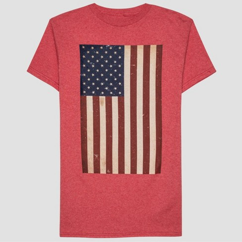 Men's Americana Flag Short Sleeve Graphic T-Shirt - Red - image 1 of 2