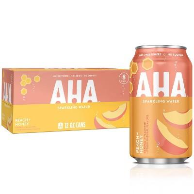 AHA Peach + Honey Sparkling Water - 8pk/12 fl oz Cans