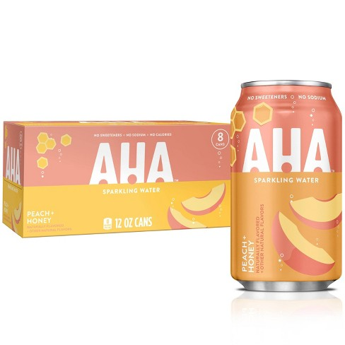 AHA Peach + Honey Sparkling Water - 8pk/12 fl oz Cans - image 1 of 3