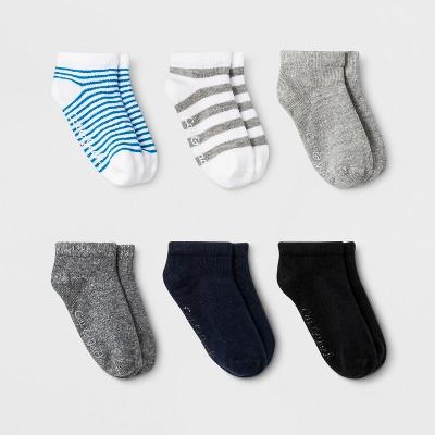 Toddler 6pk Low Cut Striped Socks - Cat & Jack™ Gray