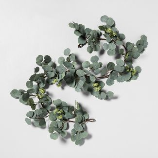 "72"" Faux Garland Eucalyptus with Seeds - Hearth & Hand™ with Magnolia"