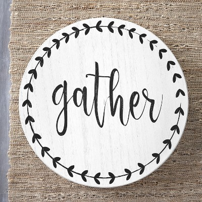 Lakeside Rotatable Lazy Susan with Sentimental Phrase and Bold Leaf Accents