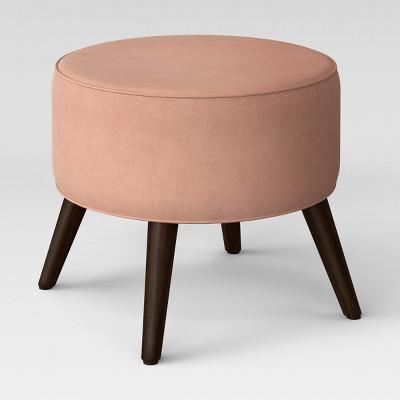 Riverplace Round Cone Leg Ottoman Blush Velvet - Project 62™