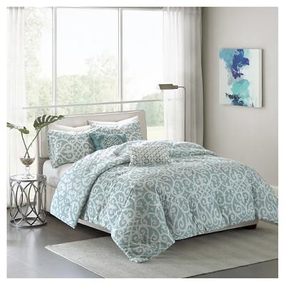 Elisa Medallion Cotton Comforter Set (King/California King)5-Piece - Aqua