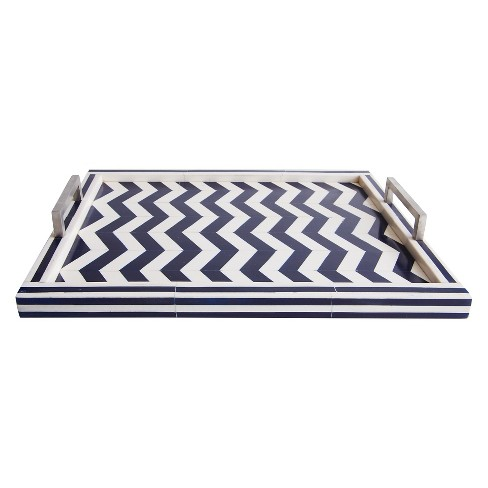 Liv Navy/White Rectangle Bone Tray - Go Home - image 1 of 1