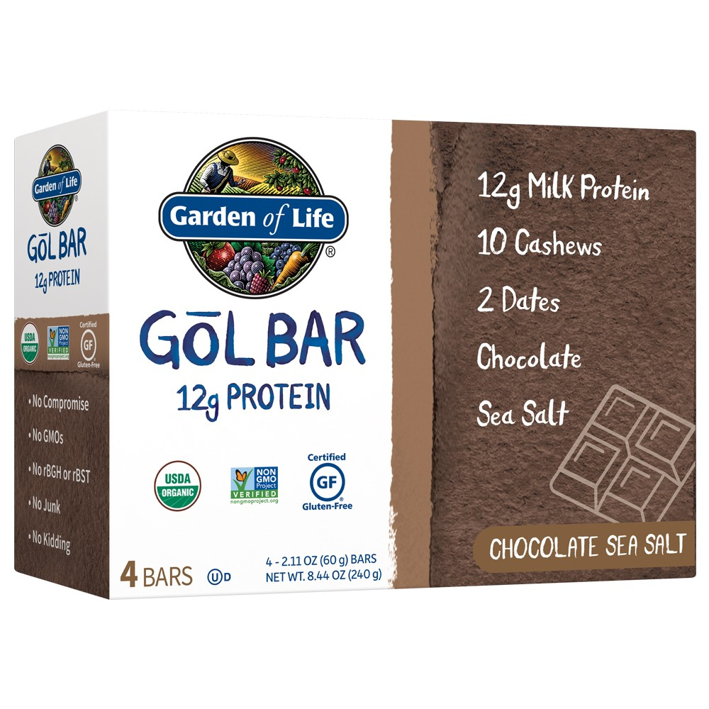 Garden of Life Gol Organic Protein Bar - Chocolate Sea Salt - 4pk
