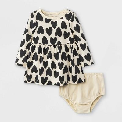 Baby Girls' Heart Long Sleeve Dress - Cat & Jack™ White Sand 0-3M