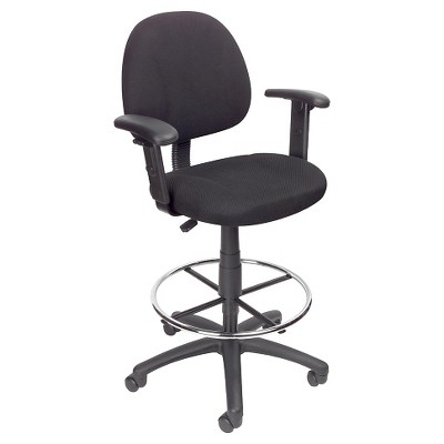 Drafting Stool with Footring and Adjustable Arms - Boss Office Products