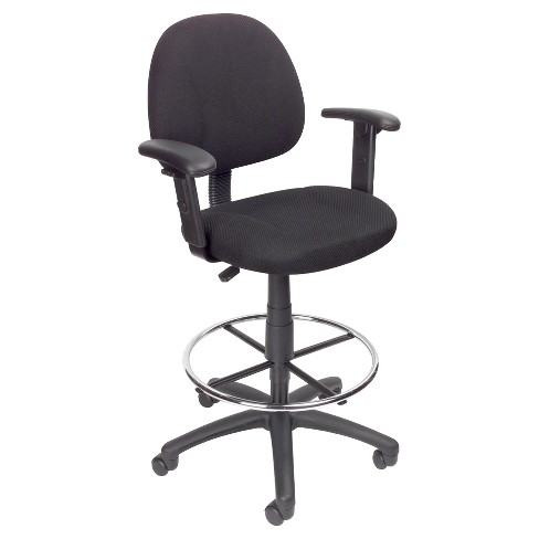 Drafting Stool with Footring And Adjustable Arms Black - Boss Office Products - image 1 of 4