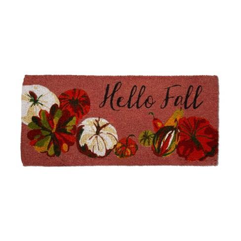 TAG Hello Fall Pumpkin Estate Coir Mat Renewable Coconut Fiber Doormat Thanksgiving Harvest Fall Autumn - image 1 of 2