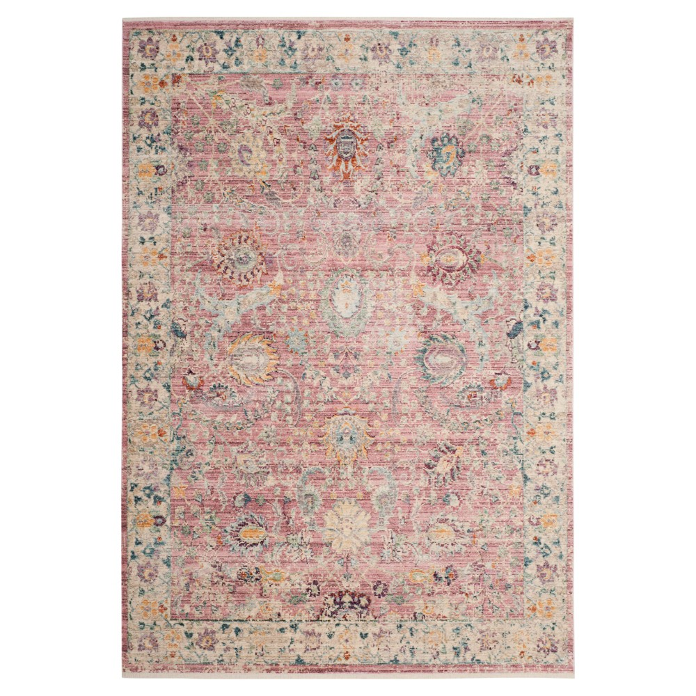 Rose/Cream Floral Loomed Accent Rug 4'X6' - Safavieh, Off-White Pink