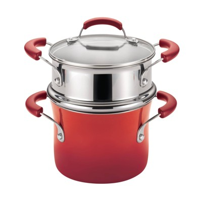 Rachael Ray 3qt Hard Enamel Aluminum Nonstick Sauce Pot with Steamer Insert