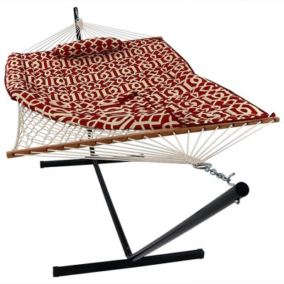 Sunnydaze Cotton Rope Freestanding Hammock with Spreader Bar with Portable Steel Stand and Pad and Pillow Set - 12' Stand - Royal Red