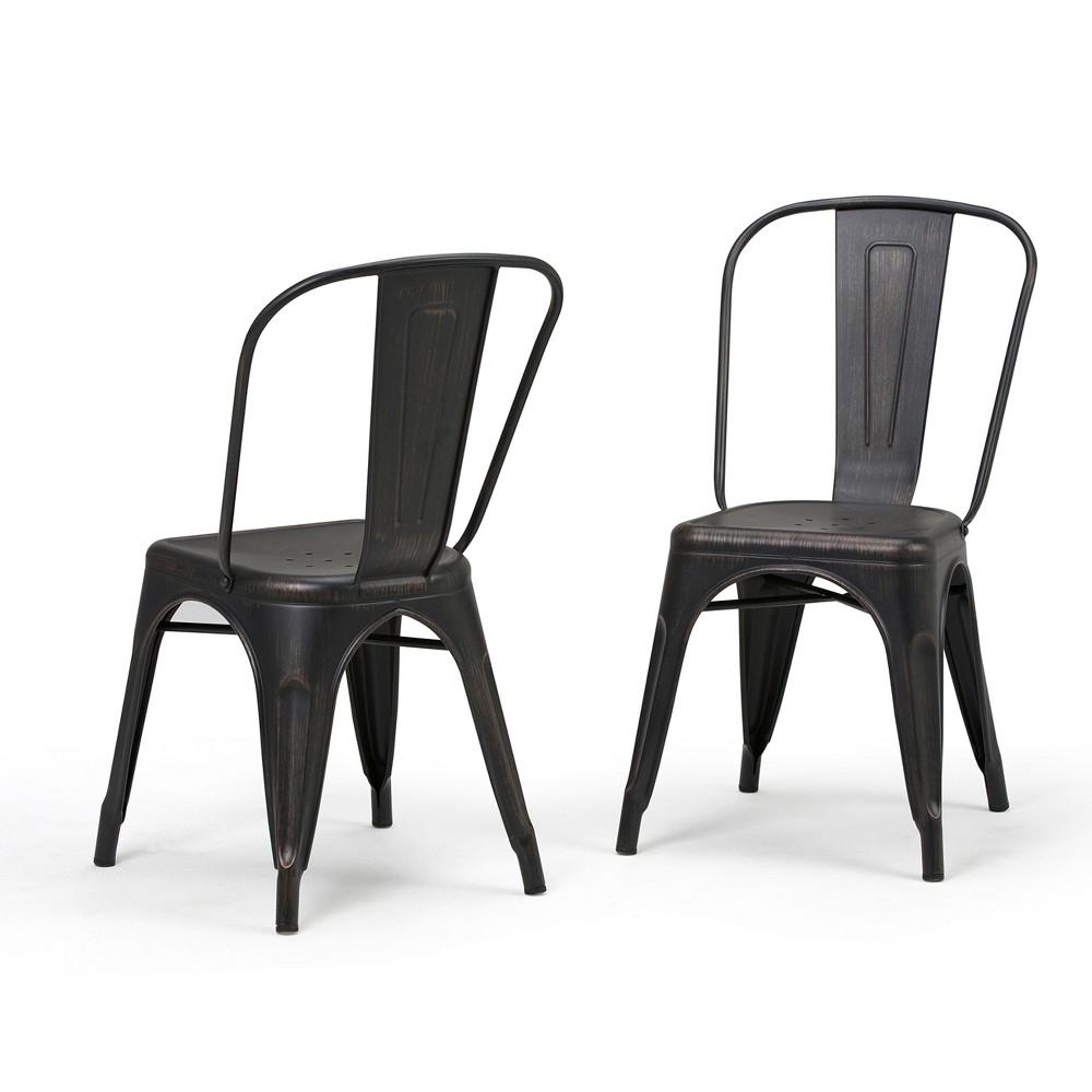 Set of 2 Freya Metal Dining Side Chair Distressed Black Copper Wyndenhall