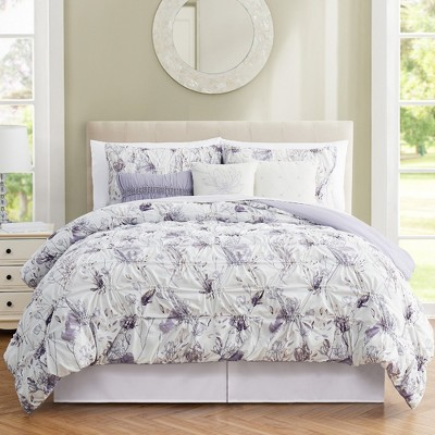 Modern Threads 6 Piece Print with Ruching Comforter Sets Magnolia.