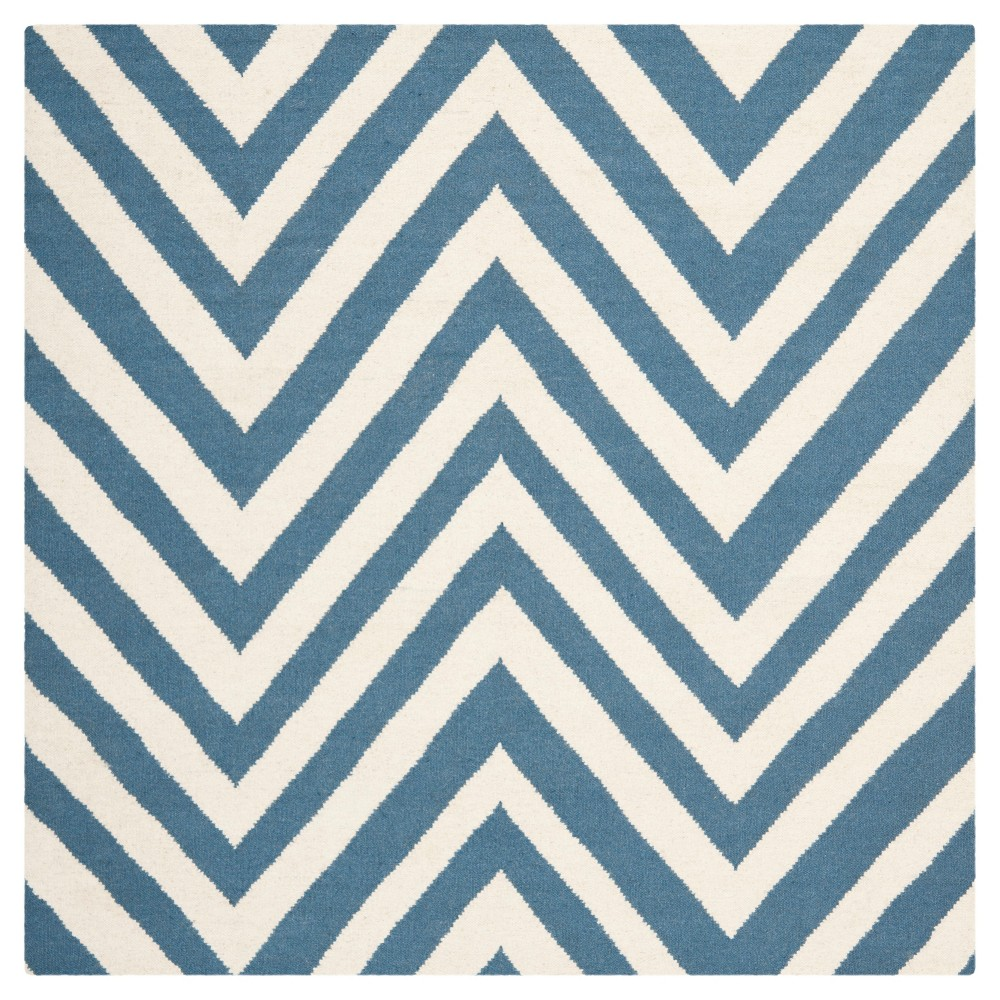 Coupons Dhurries Rug - Blue Ivory - (4x4 Square) - Safavieh