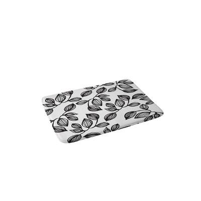 Julia Da Rocha Leaves Memory Foam Bath Mat Black/White - Deny Designs