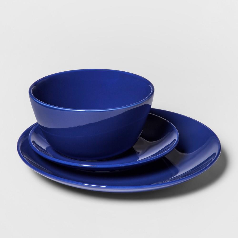12pc Avesta Stoneware Dinnerware Set Blue - Project 62