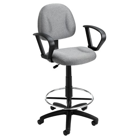 Drafting Stool with Footring And Loop Arms Gray - Boss Office Products - image 1 of 4