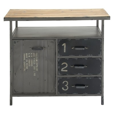 Metal Utility Cabinet with Wood Top Steel Gray - Olivia & May