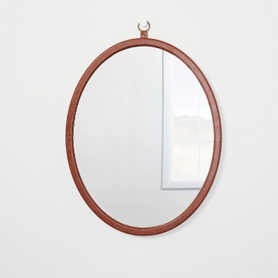 """24"""" x 30"""" Oval Faux Leather Mirror with Ring - Threshold™ designed with Studio McGee"""