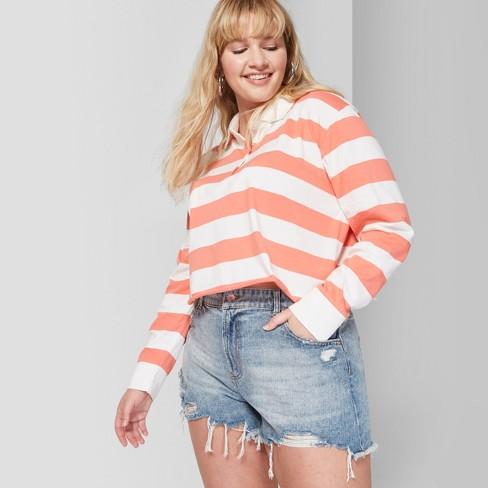 b33319f5fe Women's Plus Size High-Rise Cutoff Destructed Mom Jean Shorts - Wild Fable™ Medium  Blue Wash : Target