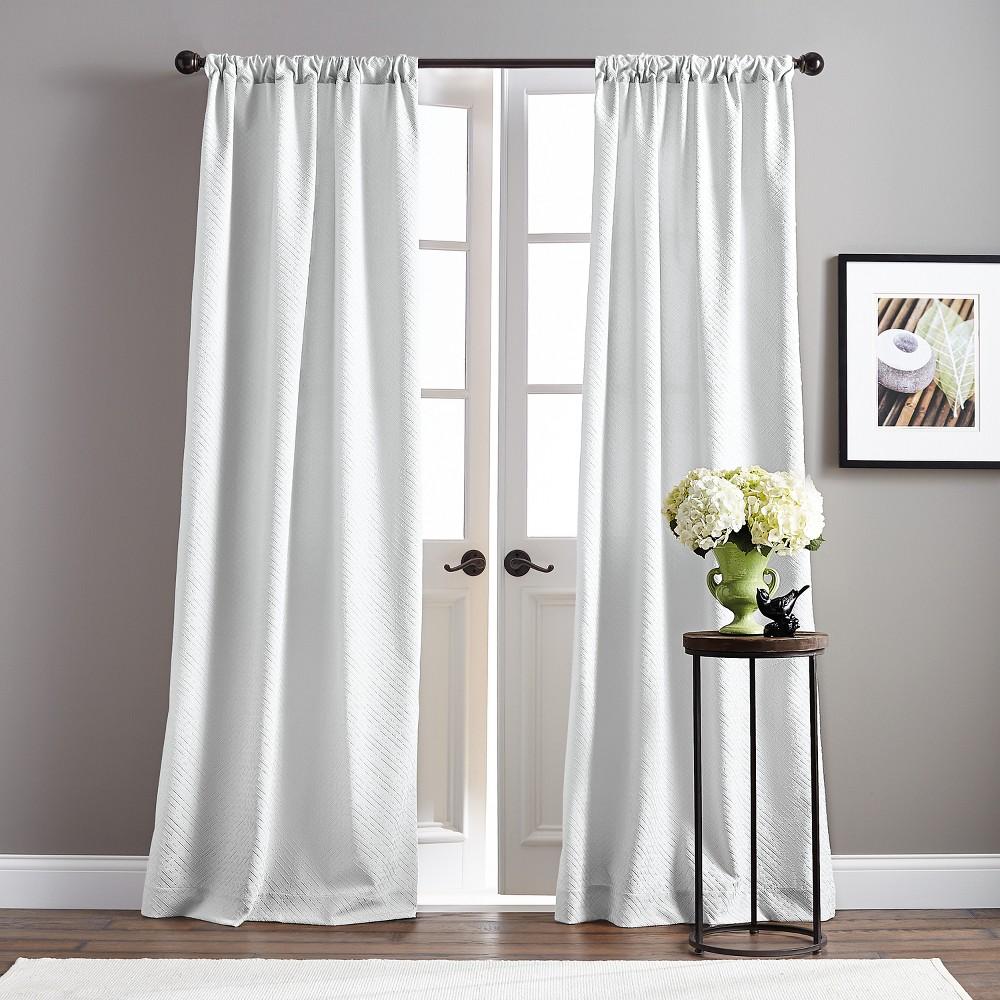 Image of 108 Basket Poletop Pair Curtain Panel White