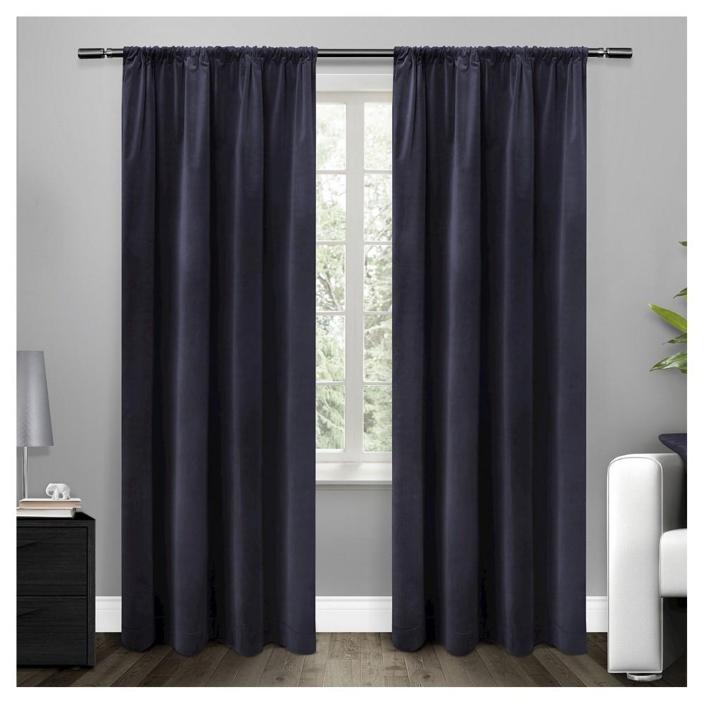 Cotton Velvet Blackout Curtain Panel Navy (Blue) ( 54