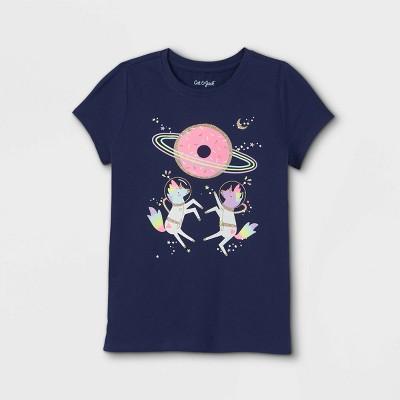 Girls' 'Space Unicorns' Short Sleeve Graphic T-Shirt - Cat & Jack™ Navy