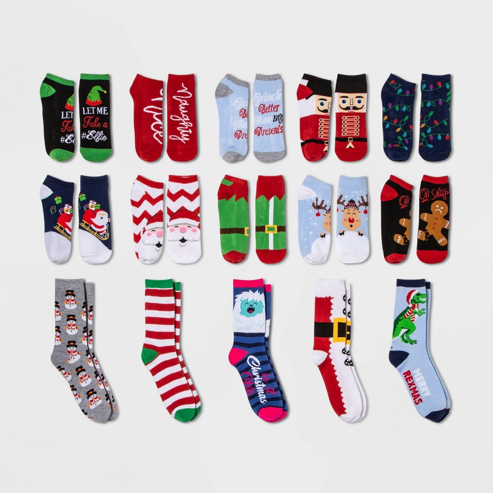 Image of Women's Santa Selfie 15 Days of Socks Advent Calendar - Assorted Colors One Size, Women's, MultiColored