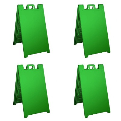 Plasticade Signicade Portable Folding Sidewalk Double Sided Sign, Green (4 Pack)