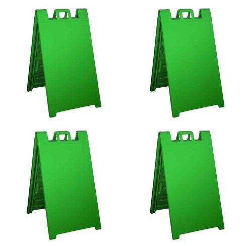 Plasticade Signicade Portable Folding Sidewalk Double Sided Sign, Green (4 Pack) - image 1 of 2