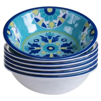 Certified International® Granada by Jennifer Brinley Melamine Bowls 22oz Blue - Set of 6