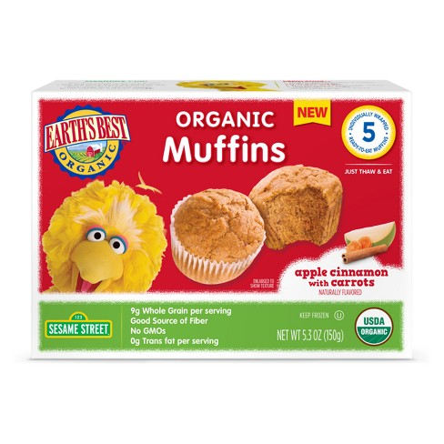 Earth' s Best Sesame Street Big Bird Organic Apple Cinnamon with Carrots Frozen Muffins - 5ct - image 1 of 1