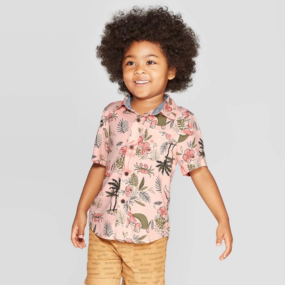 f26f4430 Toddler Boys Challis Tropical Print Short Sleeve Woven Button Down Shirt  Cat Jack Pink 2T Orange