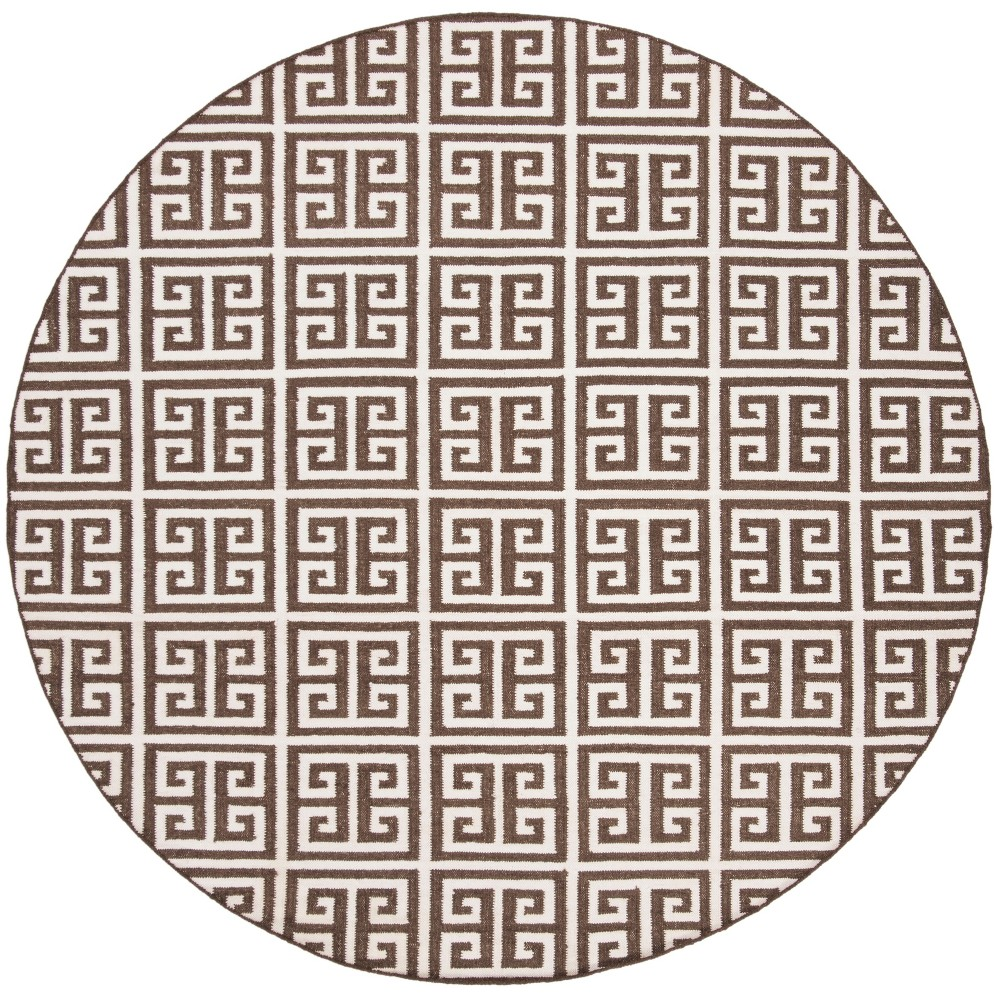 7' Woven Geometric Round Area Rug Brown - Safavieh, Brown/Ivory