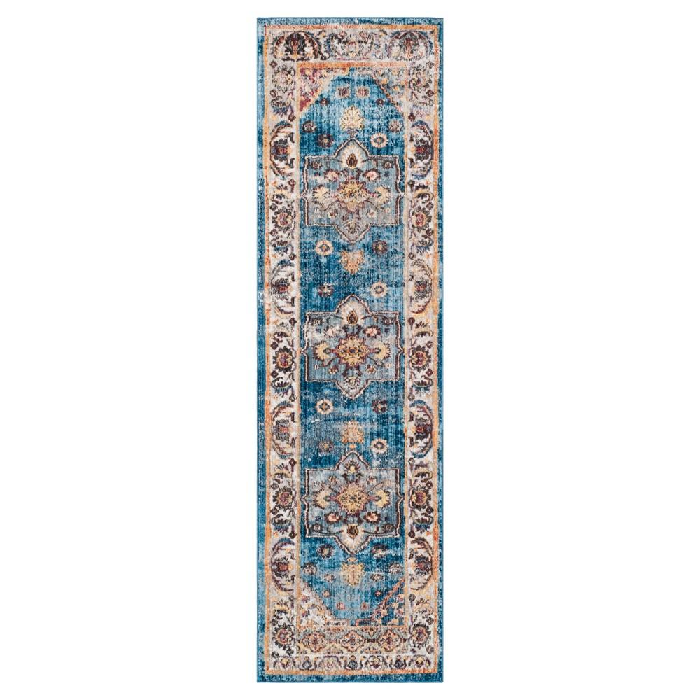 Blueivory Floral Loomed Runner 23x8 Safavieh Blue White
