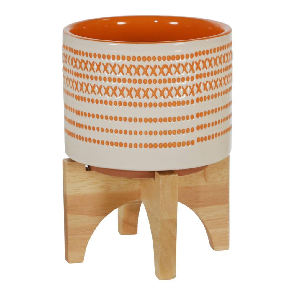 7 34 X 5 34 Ceramic Planter On Stand With Dots Orange Sagebrook Home