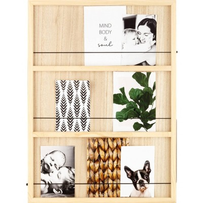 """18"""" x 24"""" Wood Tiered Collage Memo Board Wall Organizer Natural - Gallery Solutions"""