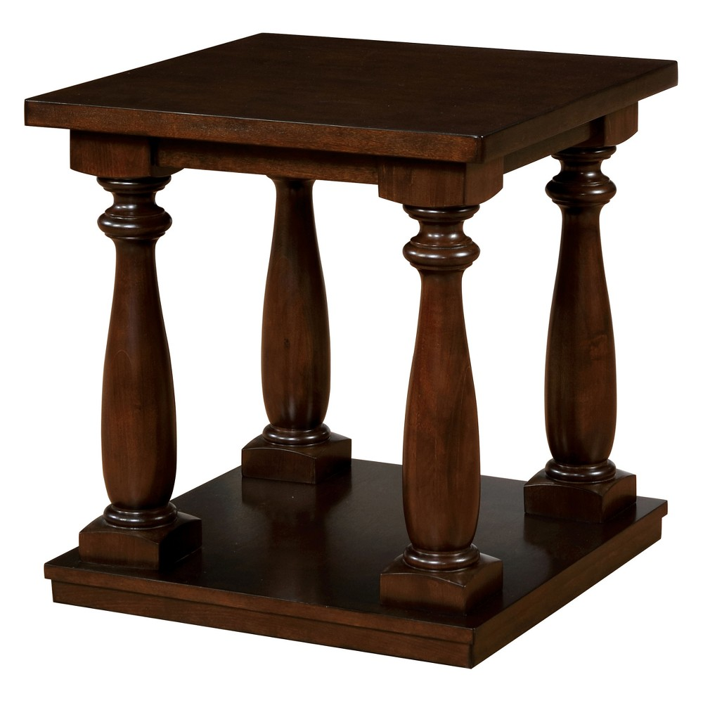 Iohomes Mutchler Rustic Turned Leg End Table Mocha Brown Vanilla - Homes: Inside + Out