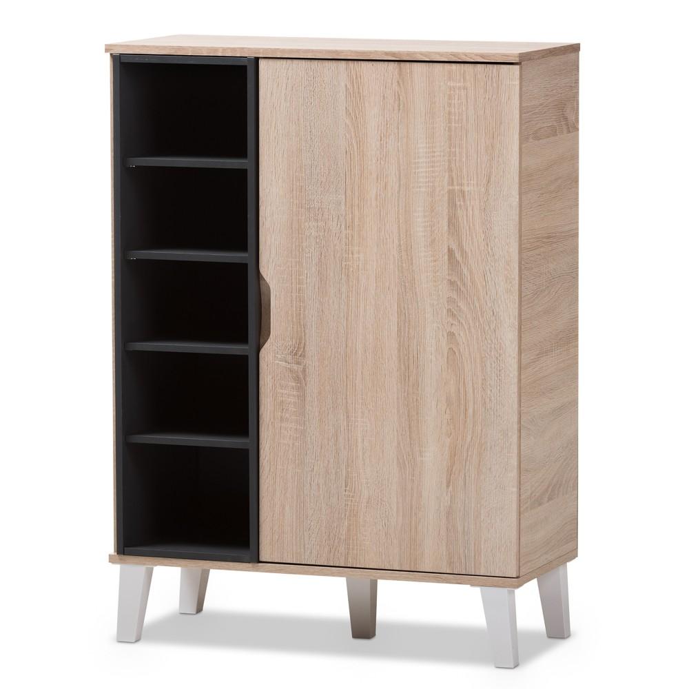 Image of Adelina Mid - Century Modern 1 - Door Wood Shoe Cabinet - Brown - Baxton Studio, Light Brown